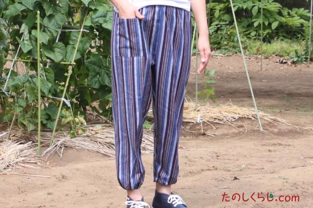 純綿かつお縞もんぺ 女性用 日本製 前