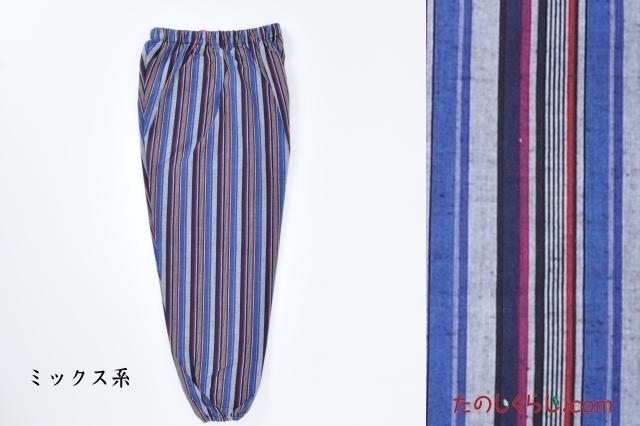純綿かつお縞もんぺ(ミックス系) 女性用 日本製