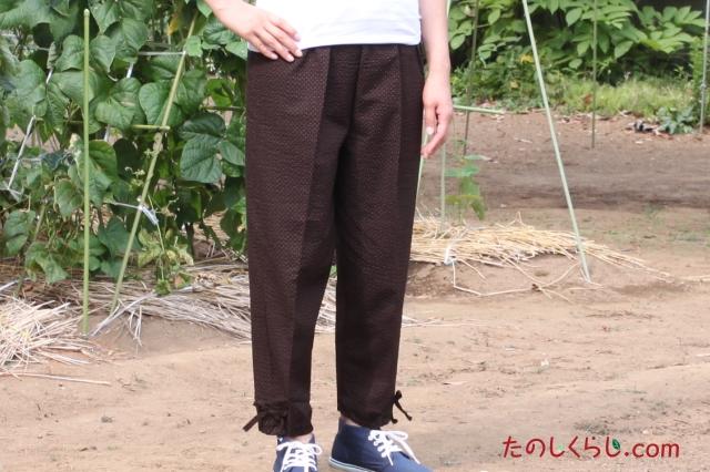 綿ワッフルプリントもんぺ風イージーパンツ 女性用 日本製 前