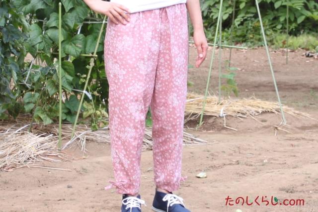 和柄むら染プリントもんぺ風イージーパンツ(さくら) 女性用 日本製 前