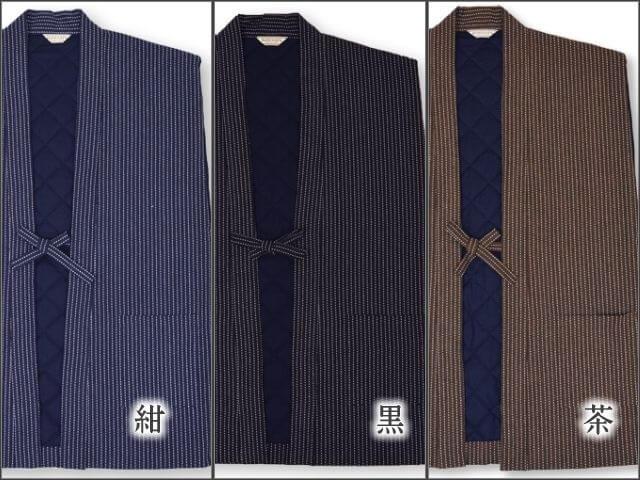 刺子織 袖なし綿入り半天 日本製 色